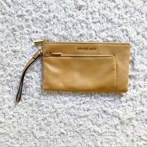 Michael Kors Jet Set Double Zip Tan Wristlet Bag